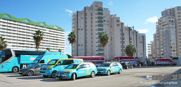 Photo: Astana and Katusha share the hotel carpark.