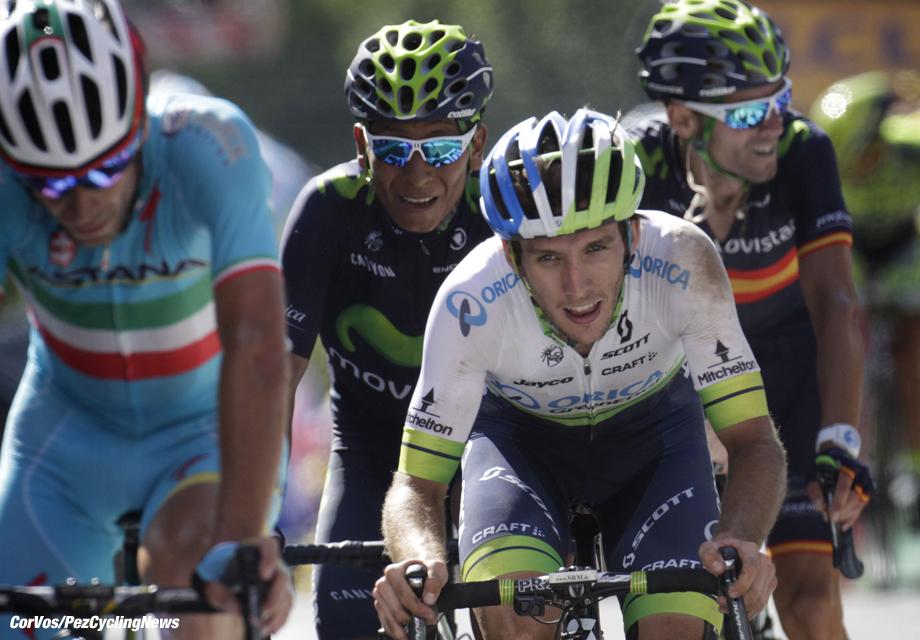 Huy - Belgium - wielrennen - cycling - radsport - cyclisme - Nibali Vincenzo (Team Astana) -Yates Simon (Team Orica Greenedge)- Nairo Alexander Quintana Rojas (Team Movistar) - Valverde Alejandro (Team Movistar) pictured during le Tour de France 2015 - stage 3 - from Antwerpen to Huy -159.5 KM - on monday 06-07-2015 - photo Dion Kerckhoffs//Davy Rietbergen/Cor Vos © 2015