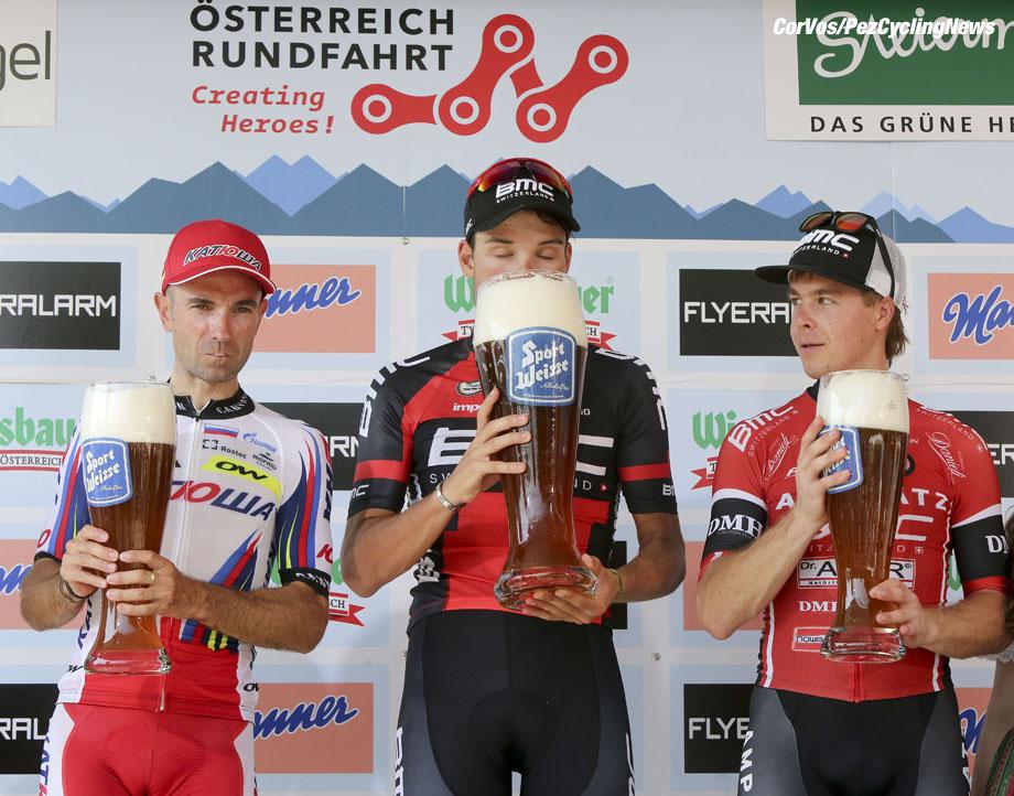 Gratwein-Straflengel - Austria - wielrennen - cycling - radsport - cyclisme -  Angel Vicioso Arcos (Katusha)  - Rick Zabel (BMC Racing Team)  - Jan Tratnik pictured during stage 3 of the Int. ÷sterreich-Rundfahrt-Tour of Austria 2015 (2.HC) from Windischgarsten to Gratwein-Straflengel- photo Cor Vos © 2015