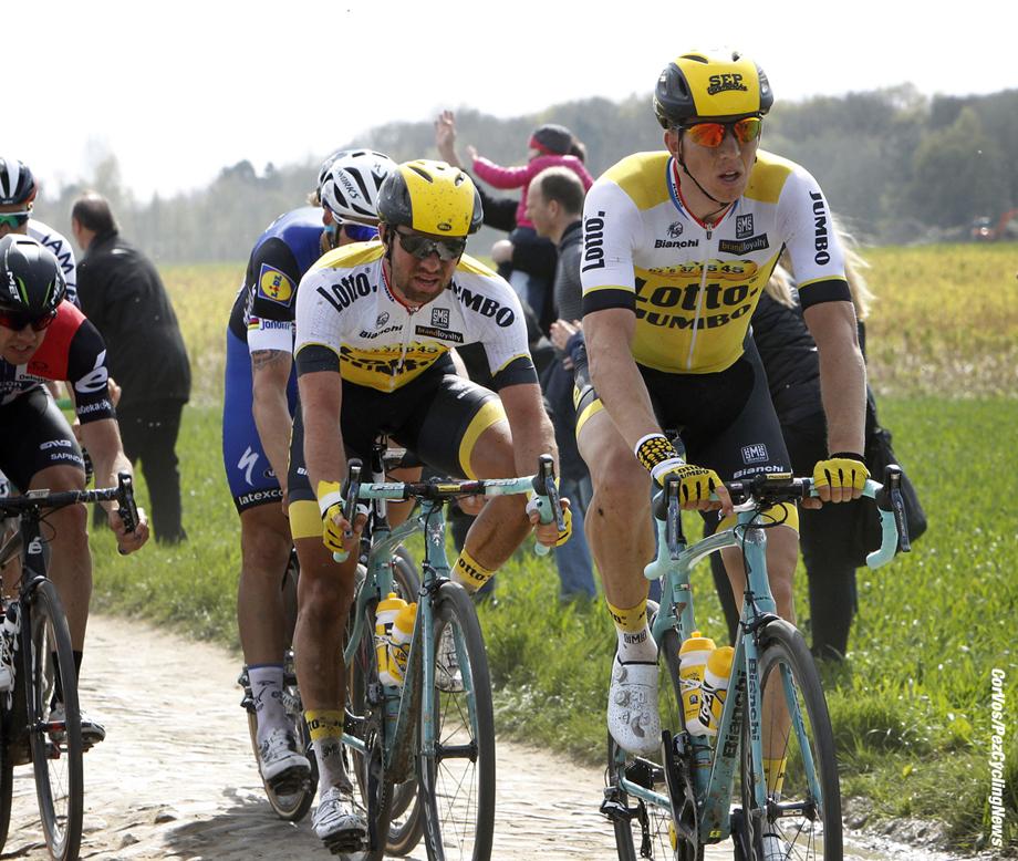 Roubaix - France - wielrennen - cycling - radsport - cyclisme - Sep Vanmarcke (Belgium / Team LottoNL - Jumbo) - Tom Van Asbroeck (Belgium / Team LottoNL - Jumbo)  pictured during Paris - Roubaix Dion Kerckhoffs/Cor Vos © 2015