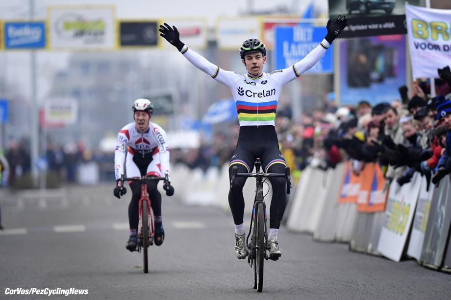 Bredene - Belgium - wielrennen - cycling - radsport - cyclisme -    Van Aert Wout (BEL) of Vastgoedservice - Golden Palace celebrates the win in front of Sweeck Laurens (BEL) of Era - Circus during the men's elite Bingoal Brico cyclocross race of Bredene on December 30, 2016 in Bredene, Belgium  - photo NV/PN/Cor Vos © 2016