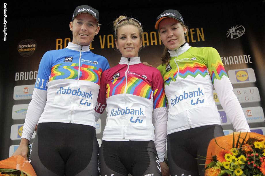 Oudenaarde- Belgium - wielrennen - cycling - radsport - cyclisme -   Iris Slappendel (Rabobank-Liv Woman Cycling Team) (Sprintclassement) - Pauline Ferrand Prevot (Rabobank-Liv Woman Cycling Team) (Youthclassement - Anna van der Breggen (Rabobank-Liv Woman Cycling Team) (KOM)  pictured during  Ronde van Vlaanderen - Tour of Flanders 2014  women's edition - photo Anton Vos/Cor Vos © 2014