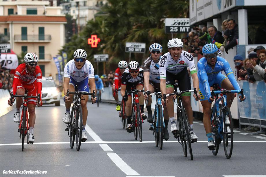 Laigueglia - Italy - wielrennen - cycling - radsport - cyclisme -  Romain Hardy (FRA - Fortuneo - Vital Concept) - Mauro Finetto (ITA - Delko Marseille Provence KTM) - Matteo Trentin (ITA - Nazionale Italiana)  pictured during 54th Trofeo Laigueglia (1.HC) from Laigueglia to  Laigueglia (192.5k) - photo LB/RB/Cor Vos © 2017