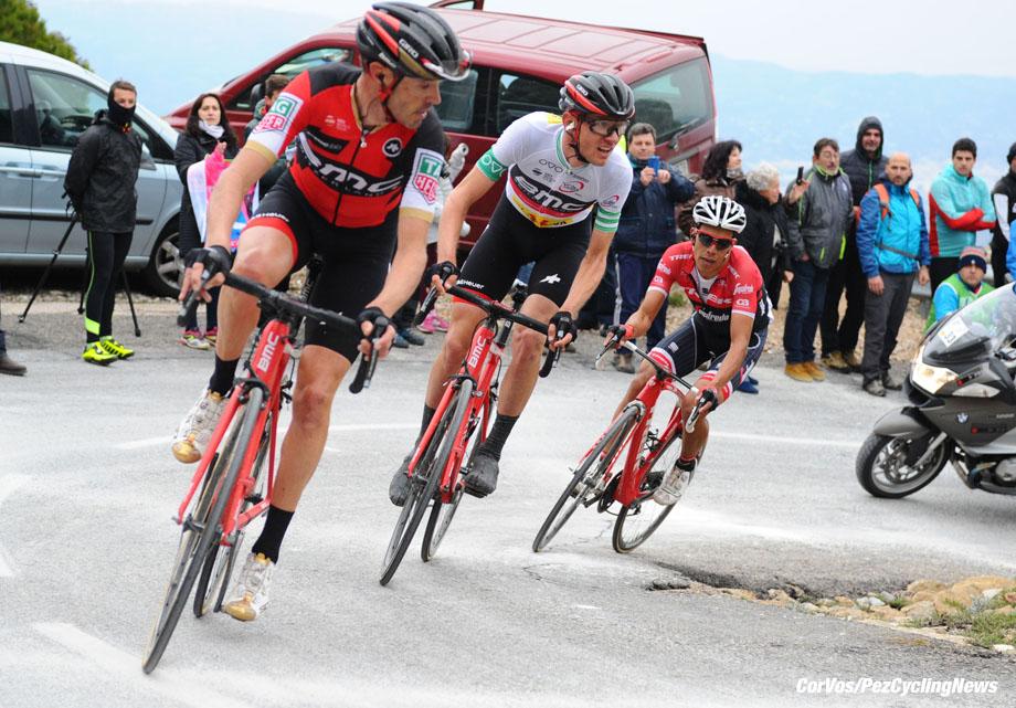 Lo Port (Tortosa) - Spain - wielrennen - cycling - radsport - cyclisme -  Tejay VAN GARDEREN (USA / BMC Racing Team) - Samuel SANCHEZ GONZALEZ (Spain / BMC Racing Team) - Jarlinson PANTANO GOMEZ (Columbia / Team Trek Segafredo)  pictured during stage - 5 of the Volta Ciclista a Catalunya 2017 - photo Miwa Iijma/Cor Vos © 2017