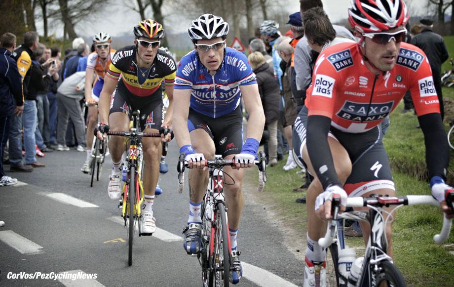 Harelbeke - Belgium - wielrennen - cycling - radsport - cyclisme - E3 Prijs van Harelbeke 2010 - Fabian Cancellara (Saxo Bank) - Sylvain Chavanel - Tom Boonen (Quick Step - Quickstep) - Lars Boom (Rabobank) - foto Cor Vos ©2010