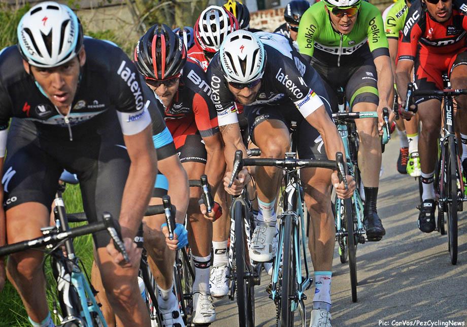 Harelbeke - Belgium - wielrennen - cycling - radsport - cyclisme - Stijn Vandenberg (Belgium / Team Omega Pharma - Quickstep) - Greg Van Avermaet (Belgium / BMC Racing Team) - Tom Boonen (Belgium / Team Omega Pharma - Quickstep) - Sep Vanmarcke (Bel - Belkin-Pro Cycling Team) pictured during the 57th E3 Prijs cycling race with start in Harelbeke and finish in Harelbeke on March 28, 2014 in Harelbeke, Belgium - photo VK/PN/Cor Vos © 2014