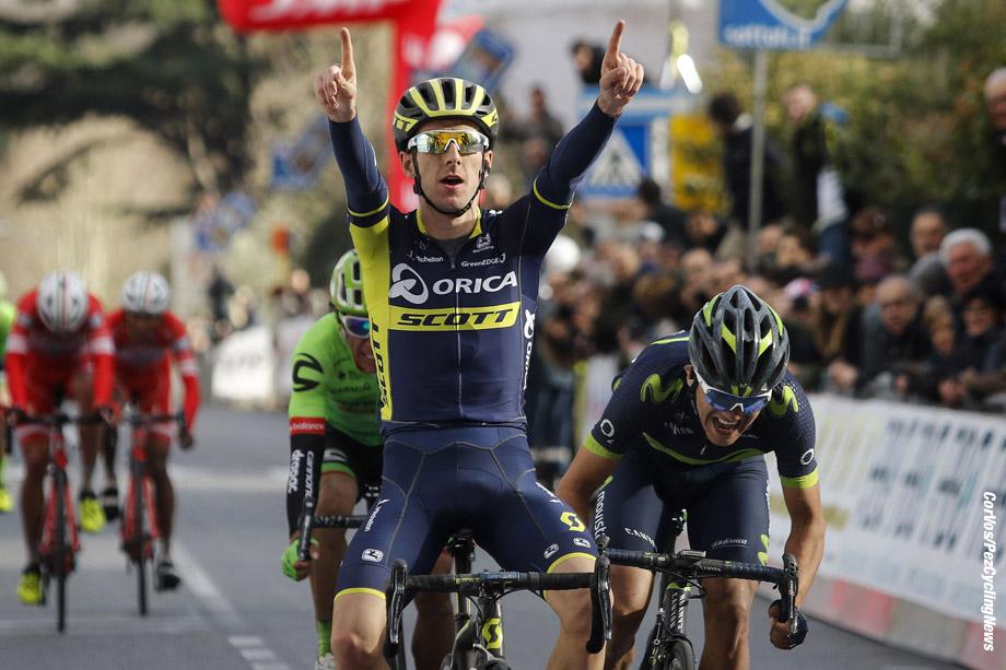 Larciano - Italy  - wielrennen - cycling - cyclisme - radsport - Adam Yates (GBR - ORICA - Scott) - Richard Carapaz (ECU - Movistar)†- Rigoberto Uran (COL - Cannondale - Drapac)  pictured during GP Larciano 2017 from Larciano to Larciano 199,2 km -  - GP Larciano 2017 - Larciano - Larciano 199,2 km - 05/03/2017 - foto LB/RB/Cor Vos © 2017