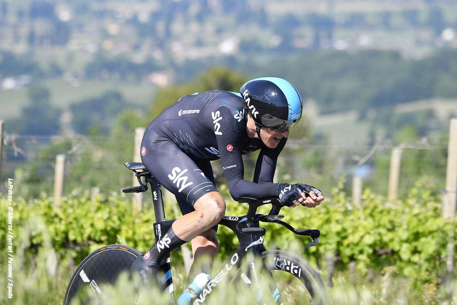Foto LaPresse - Fabio Ferrari 16/05/2017 Montefalco, Perugia (Italia) Sport Ciclismo Giro d'Italia 2017 - 100a edizione - Tappa 10 - da Foligno a Montefalco - ITT - 39,8 km ( 24,7 miglia ) Nella foto:durante la gara.G.Thomas Photo LaPresse - Fabio Ferrari May 16, 2017 Montefalco, Perugia ( Italy ) Sport Cycling Giro d'Italia 2017 - 100th edition - Stage 10 - Foligno to Montefalco - ITT - 39,8 km ( 24,7 miles ) In the pic:during the race.G.Thomas
