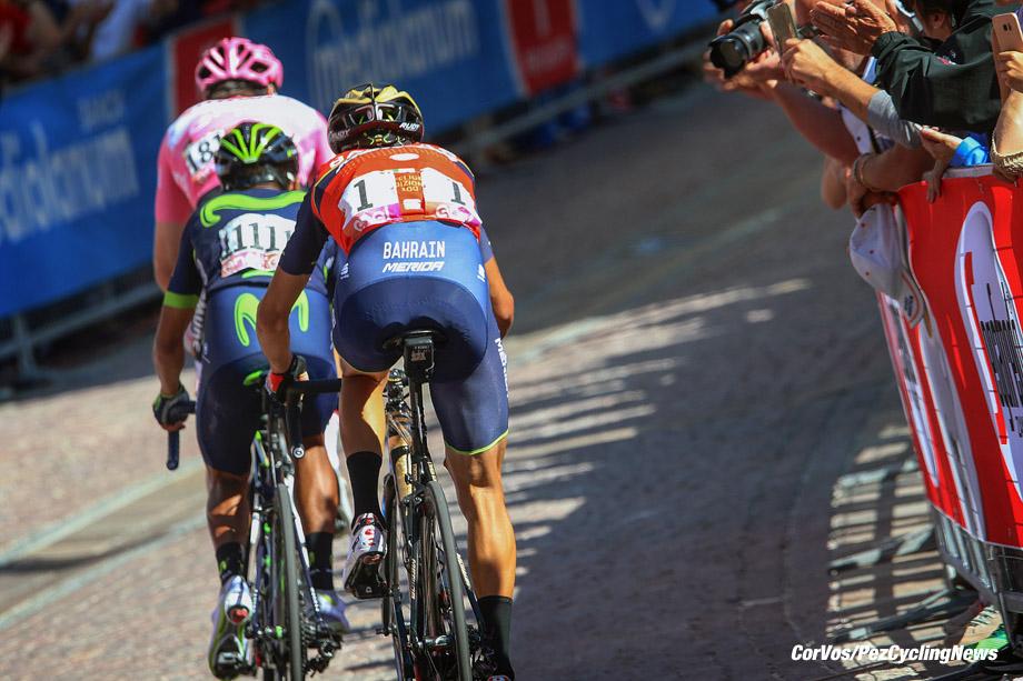 Ortisei - Italia - wielrennen - cycling - radsport - cyclisme - Tom Dumoulin (NED - Team Sunweb)†- Nairo Quintana (COL - Movistar) - Vincenzo Nibali (ITA - Bahrain - Merida) pictured during team stage 18 of the Giro D'Italia 2017 from Moena to Ortisei, 137.00 km - photo LB/RB/Cor Vos © 2017