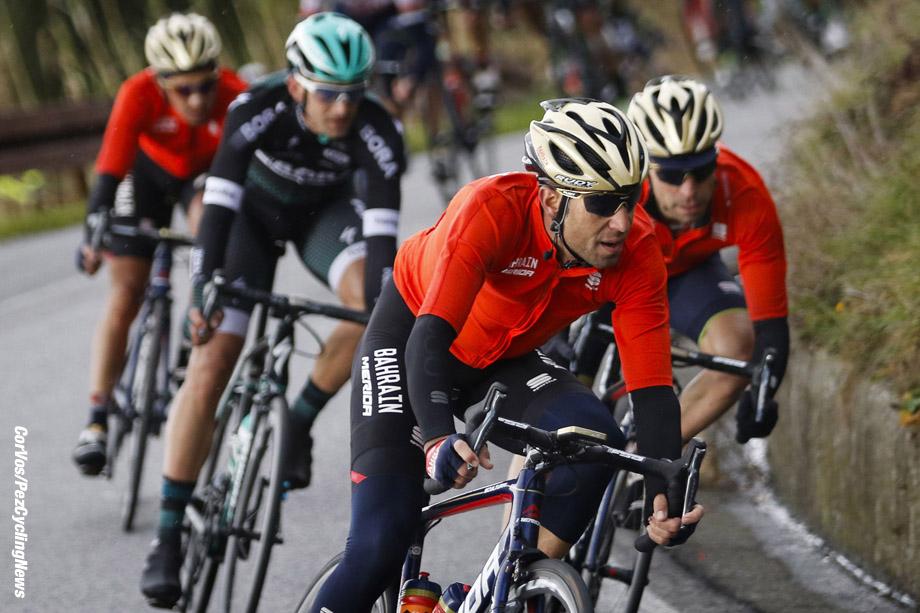 Larciano - Italy  - wielrennen - cycling - cyclisme - radsport -  Vincenzo Nibali (ITA - Bahrain - Merida) - Giovanni Visconti (ITA - Bahrain - Merida  pictured during GP Larciano 2017 from Larciano to Larciano 199,2 km -  - GP Larciano 2017 - Larciano - Larciano 199,2 km - 05/03/2017 - foto LB/RB/Cor Vos © 2017