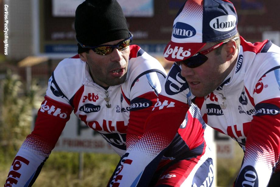 Calpe, Spanje, Lotto-DOMO wielerploeg op trainingstage, foto Cor Vos ©2003 Peter van Petegem en Serge Baguet