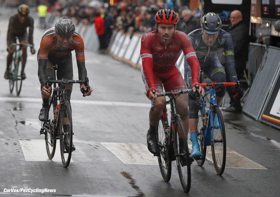 Dour - Belgium - wielrennen - cycling - radsport - cyclisme - Frederik FRISON (Belgium / Team Lotto Soudal) - Jesper ASSELMAN (Netherlands / Team Roompot Nederlandse Loterij) - Florian SENECHAL (France / Team Cofidis) - Frederik BACKAERT (Belgium / Team Wanty - Groupe Gobert) pictured during Le Samyn 2017 - Elite Men - in Dour, Belgium - photo Tim van Wichelen/Cor Vos © 2017