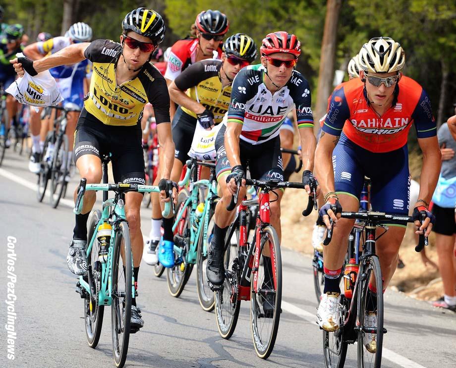 Xorret de Cati - Spain - wielrennen - cycling - cyclisme - radsport - illustration - sfeer - illustratie feedzone George BENNETT (New Sealand / Team Lotto NL - Jumbo) - Rui Alberto FARIA DA COSTA (Portugal/ Team UAE Emirates)  pictured during La Vuelta ciclista a Espana 2017 (2.UWT) stage 8 from Hellín - Xorret de Cati (199,5 km) - photo Miwa iijima/Cor Vos © 2017