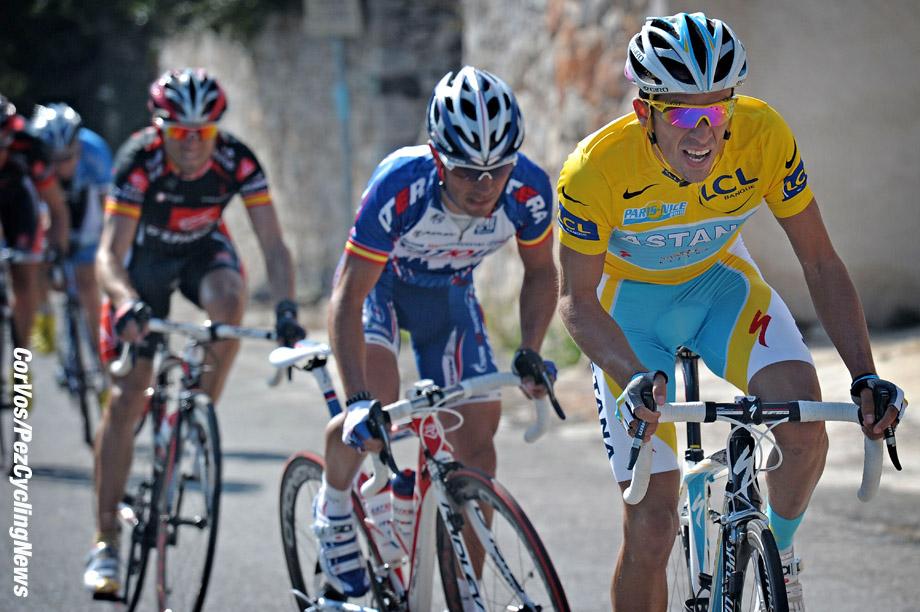 Nice - Frankrijk - wielrennen - cycling - radsport - cyclisme - 7e etappe Parijs - Nice - Alberto Contador Velasco (Astana) - Joaquin Rodriguez Oliver (Katusha) - Alejandro Valverde Belmonte (Caisse D'epargne) - foto Wessel van Keuk/Cor Vos ©2010