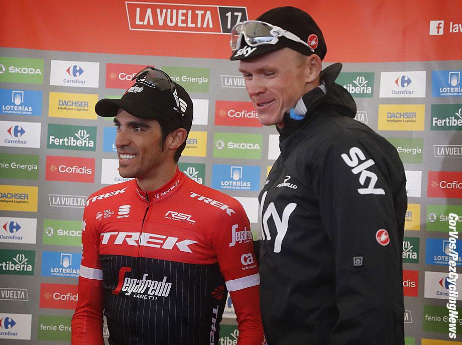 Alto de l'Angliru - Spain - wielrennen - cycling - cyclisme - radsport - Alberto CONTADOR VELASCO (Spain / Team Trek Segafredo) - Chris - Christopher FROOME (GBR / Team Sky) pictured during La Vuelta ciclista a Espana 2017 (2.UWT) stage 20 from Corvera de Asturias - Alto de l'Angliru (117,5 km) - photo Luis Gomez/Cor Vos © 2017