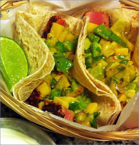 Eat To Compete Blackened Ahi Tuna Tacos With Mango