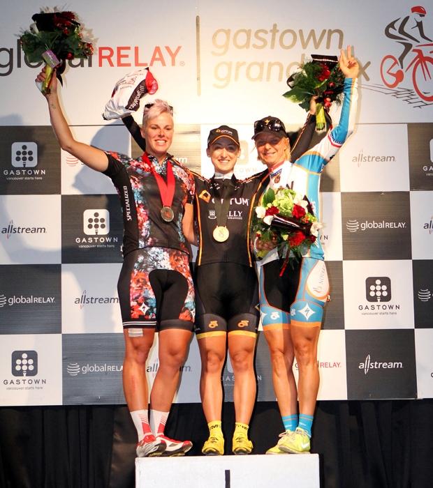 2013 women's podium Gillian Carleton (Specialized-lululemon) 2nd, Leah Kirchmann (Optum pb Kelly Benefit Strategies) 1st, Robin Farina (NOW and Novartis fo