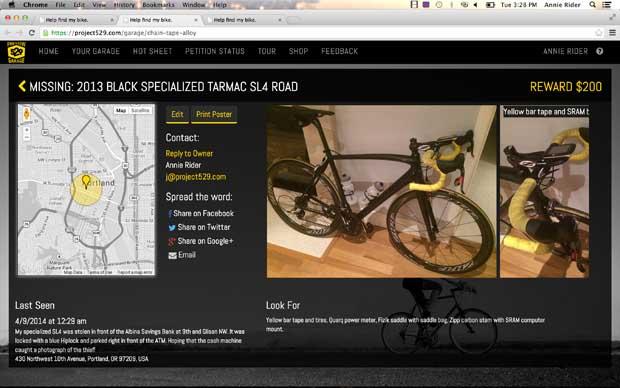 529 Garage Missing Bike Page