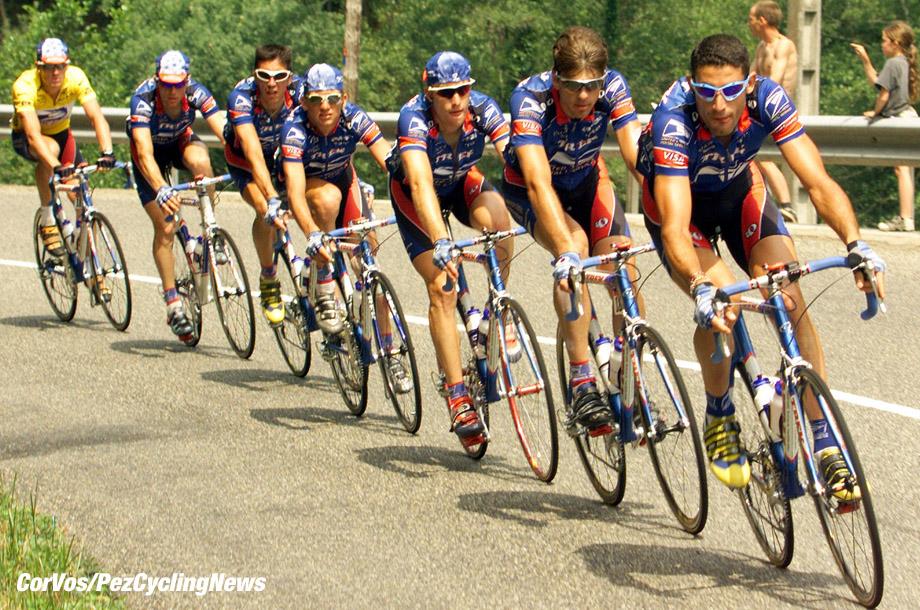 St.Gaudens, 14e etappe Tour de France, foto Co Vos ©1999 vlnr: Lance Armstrong, Livingstone,Derame, Hamilton, Andreu en Hincapie.
