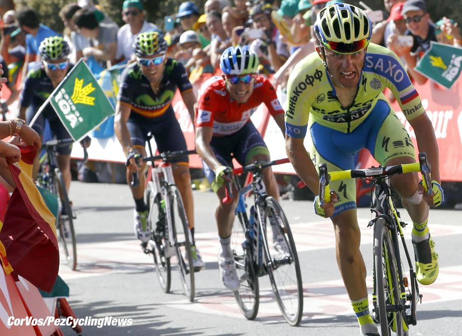 La Alpujarra - Spain - wielrennen - cycling - radsport - cyclisme - Rafal Majka (Tinkoff - Saxo) Chaves Rubio Jhoan Esteban (Team Orica Greenedge) pictured during La Vuelta 2015 Stage 7 from Jodar to La Alpujarra - photo LB/RB/Cor Vos © 2015