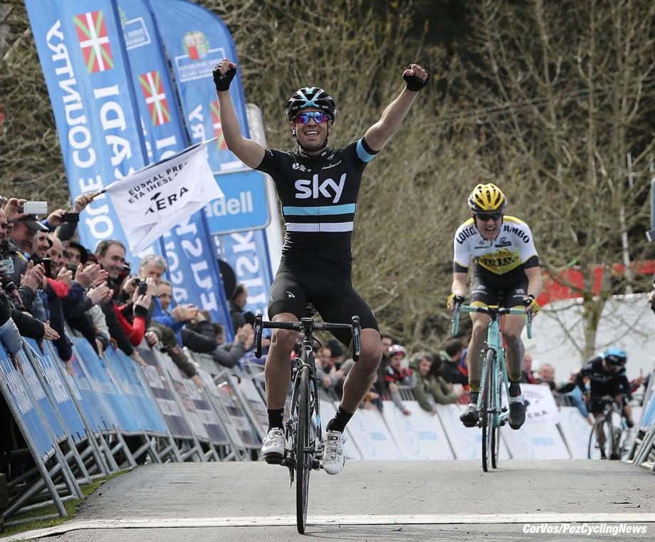 Garrastatxu - Spain - wielrennen - cycling - radsport - cyclisme - Mikel Landa (Team Sky) - Wilco Kelderman (Netherlands / Team LottoNL - Jumbo) pictured during Vuelta Ciclista al Pais Vasco 2016 (2.UWT) stage 2 from Markina-Xemein to Garrastatxu - photo LB/RB/Cor Vos © 2016