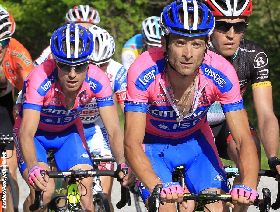 Rocca di Cambio - Italia - wielrennen - cycling - radsport - cyclisme - Michele Scarponi and Damiano Cunego (Team Lampre - ISD) pictured during stage 7 of the Giro d'Italia 2012 - from Recanati to Rocca di Cambio - foto Claudio Minardi/Cor Vos ©2012