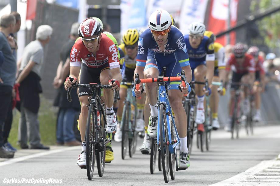 Heist-op-den-Berg - Belgium - wielrennen - cycling - radsport - cyclisme - Sean De Bie (Belgium / Team Lotto Soudal) - Kenny de Haes  pictured during the Carrefour Market Heistse Pijl cycling race with start in Turnhout and finish in Heist-op-den-Berg, Belgium  - photo Cor Vos © 2015
