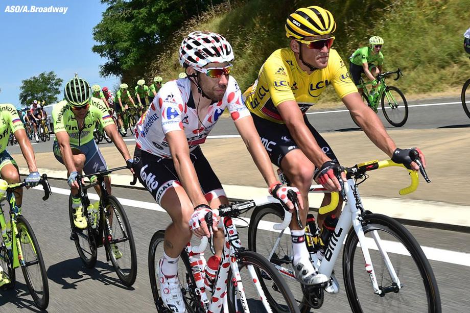 Tour de France 2016 - 07/07/2016 - Etape 6 - Arpajon-sur-cère/ Montauban (190,5 km) -VAN AVERMAET Greg (BMC RACING TEAM) maillot Jaune et DE GENDT Thomas (LOTTO SOUDAL) Maillot à pois (grimpeur)