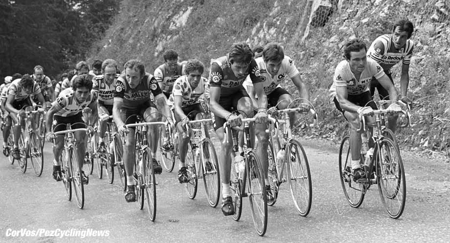 Tour de France 1981 -Archief-Archive-stock- wielrennen-cycling-cyclisme -Johan v.d. Velde, Joop Zo0etemelk en Bernard Hinault (TI Raleigh)- foto Cor Vos ©1981