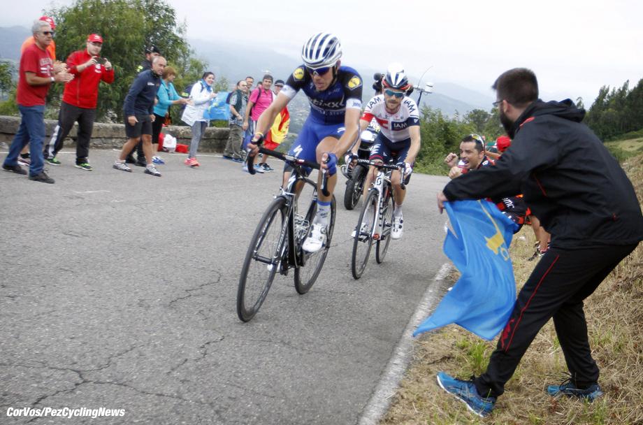 Oviedo. Alto del Naranco - Spain - wielrennen - cycling - radsport - cyclisme - David De La Cruz Melgarejo (Spain / Team Etixx - Quick Step) - Devenyns Dries (Belgium / IAM Cycling) pictured during stage 9 from Cistierna - Oviedo. Alto del Naranco - Vuelta Espana 2016 - photo Sabine Jacob/Cor Vos © 2016