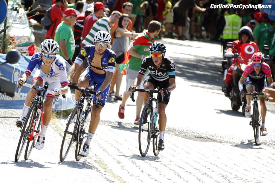 Bilbao - Spain - wielrennen - cycling - radsport - cyclisme - Elissonde Kenny (Suisse / Team FDJ), Brambilla Gianluca (Italie / Team Etixx - Quick Step), Kennaugh Peter (GBR / Team Sky) pictured during stage 12 from Los Corrales de Buelna to Bilbao - Vuelta Espana 2016 - photo Sabine Jacob/Cor Vos © 2016