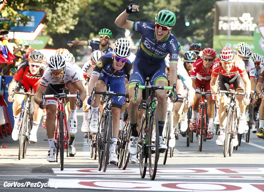 Bilbao - Spain - wielrennen - cycling - radsport - cyclisme - Jens Keukeleire (Belgien / Team Orica Bike Exchange) - Bouet Maxime (France / Team Etixx - Quick Step) - Felline Fabio (Italie / Trek Factory Racing) pictured during stage 12 from Los Corrales de Buelna to Bilbao - Vuelta Espana 2016 - photo Sabine Jacob/Cor Vos © 2016