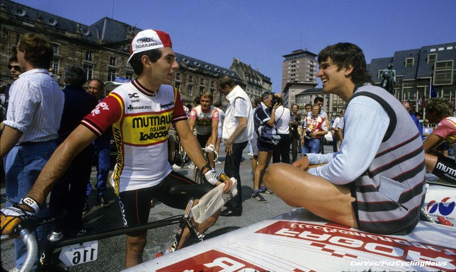 Hoogvliet - wielrennen - cycling - cyclisme - radsport - archive - stock - archief -Doug Shapiro en Erik Heiden - fotoCor Vos ©1984