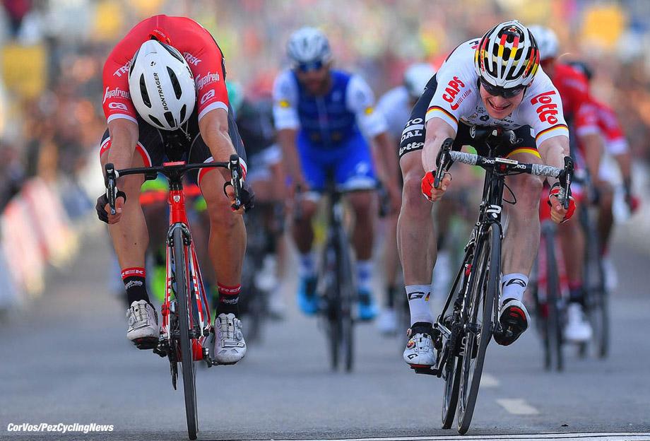 Tavira - Portugal  - wielrennen - cycling - radsport - cyclisme - John DEGENKOLB (Germany / Team Trek Segafredo) - Andre GREIPEL (Germany / Team Lotto Soudal) pictured during the Volta ao Algarve em Bicicleta 2017  stage 4 from Almodôvar to Tavira, 203.40 km  - photo LG/LB/RB/Cor Vos © 2017
