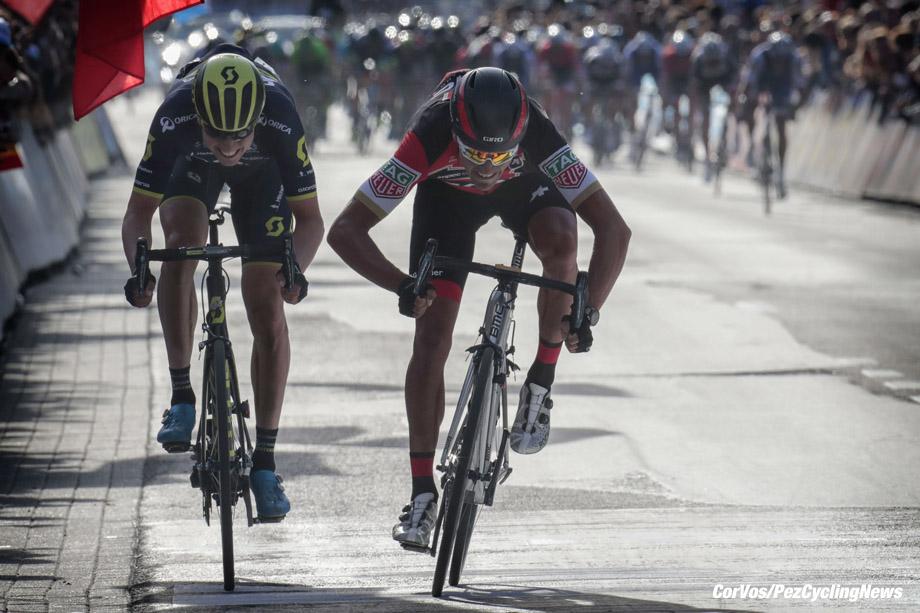 Wevelgem - Belgium - wielrennen - cycling - radsport - cyclisme - Jens KEUKELEIR (Belgium / Team Orica Scott) - Greg VAN AVERMAET (Belgium / BMC Racing Team) pictured during Gent - Wevelgem World Tour UCI - photo Davy Rietbergen/Cor Vos © 2017