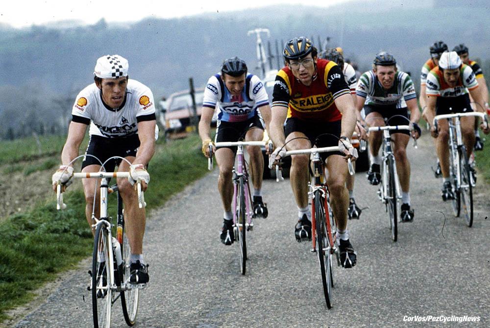 TI-Raleigh's Jan Raas won five Amstel Gold Races, but in 1983 Australia's Phil Anderson gave Peugeot an unaccustomed Classic win. In the break with Anderson and Raas was Joop Zoetemelk, Etienne de Wilde and Jonathan 'Jock' Boyer. Pic:CorVos/PezCyclingNews.