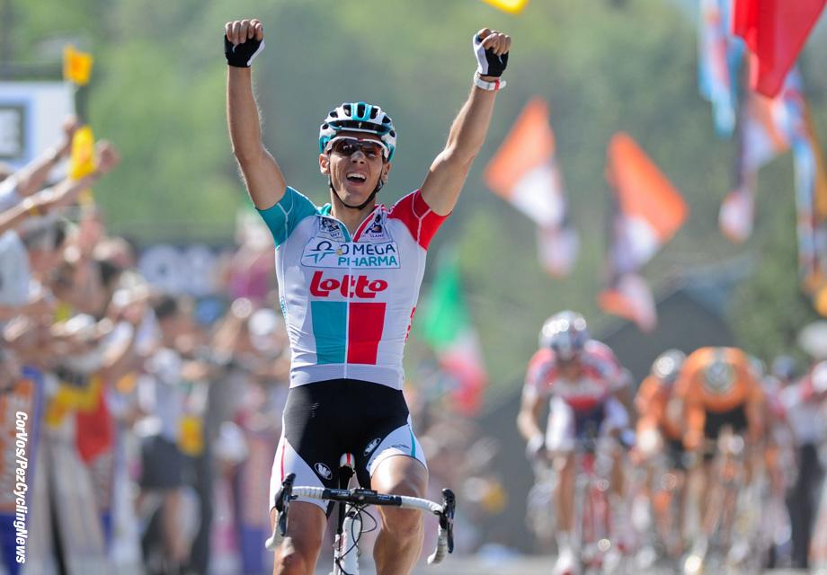 Huy - Hoei - Belgie - wielrennen - cycling - radsport - cyclisme - wereldbeker - worldcup - coupe du monde - Waalse Pijl - Fleche Wallone 2011 - Philippe Gilbert (Team Omega Pharma - Lotto) - foto Cor Vos ©2011