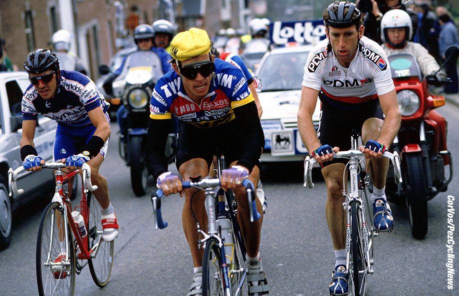 Pedro Delgado, Phil Anderson en Sean Kelly in Luik-Bastenaken-Luik, foto Cor Vos©1998