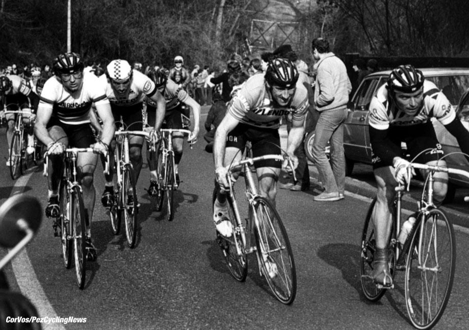 Jan Raas, Sean Kelly en Bernard Hinault, foto Cor Vos ©