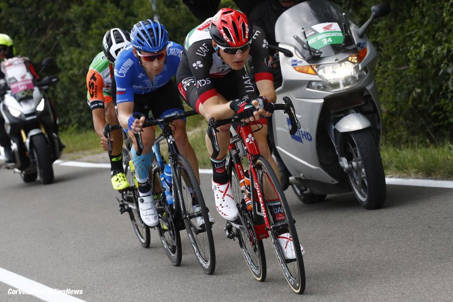 Tortona - Italia - wielrennen - cycling - radsport - cyclisme - Matej Mohoric (SLO - UAE Team Emirates) - Pavel Brutt (RUS - Gazprom - RusVelo - Vincenzo Albanese (ITA - Bardiani - CSF) pictured during team stage 13 of the Giro D'Italia 2017  from Reggio Emilia to Tortona, 162.00 km -  photo LB/RB/Cor Vos © 2017