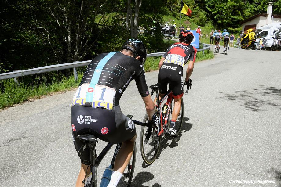 La Motte Servolex - France - wielrennen - cycling - radsport - cyclisme - Christopher - Chris FROOME (GBR / Team Sky) - Richie PORTE (Australia / BMC Racing Team) pictured during stage - 6 of the 69th Criterium du Dauphine - from Le Parc-des-Oiseaux - La Motte Servolex, 147.50 km - photo VK/PN/Cor Vos © 2017