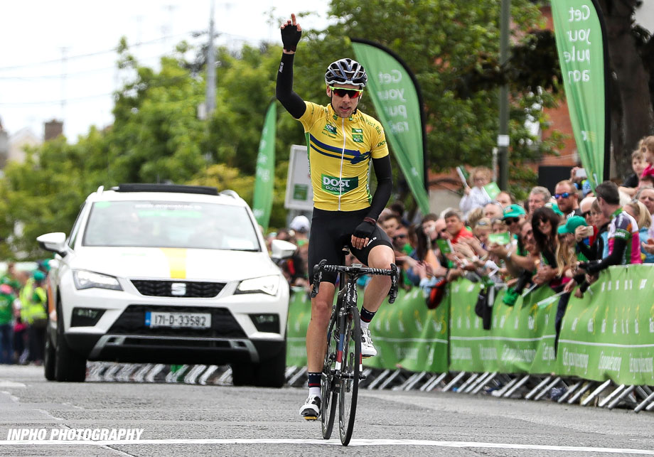 REPRO FREE***PRESS RELEASE NO REPRODUCTION FEE*** 2017 An Post Ras Stage 8, Ardee to Skerries 28/5/2017 Yellow jersey holder James Gullen of JLT Condor celebrates winning the An Post Ras Mandatory Credit ©INPHO/Ryan Byrne