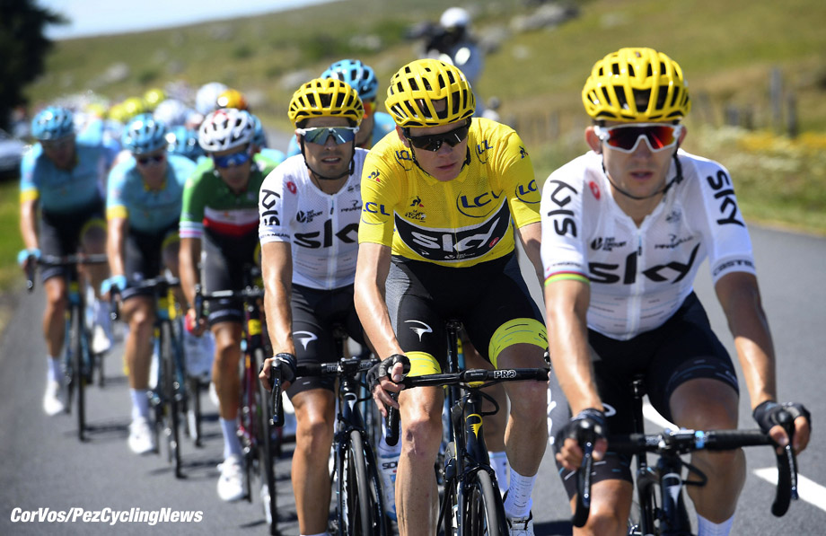 Le Puy-en-Velay, - France - wielrennen - cycling - cyclisme - radsport - Michal KWIATKOWSKI (Poland / Team Sky) - Christopher - Chris FROOME (GBR / Team Sky)  pictured during the 104th Tour de France 2017 - stage 15 from Laissac-Sévérac l'…glise to Le Puy-en-Velay, 189.50 km - foto  VK/PN/Cor Vos © 2017