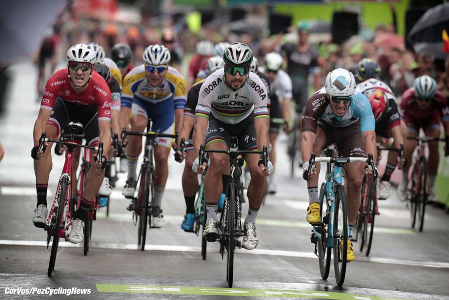 Ardooie - Belgium - wielrennen - cycling - cyclisme - radsport - Peter SAGAN (Slowakia / Team Bora - Hansgrohe) Edward THEUNS (Belgium / Team Trek Segafredo) - Rudy BARBIER (France / Team AG2R La Mondiale)  pictured during the BinckBank Tour Stage 3 from  Blankenberge to Ardooie (185 km) - photo Cor Vos © 2017