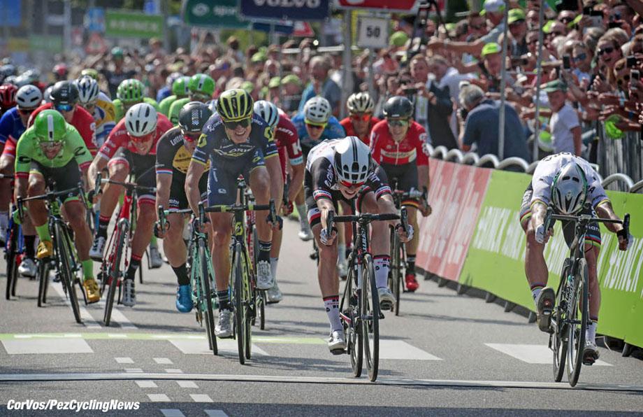 Venray - Netherlands - wielrennen - cycling - cyclisme - radsport - Peter SAGAN (Slowakia / Team Bora - Hansgrohe) - Phil BAUHAUS (Germany / Team Sunweb) - Magnus Cort NIELSEN (Danmark / Team Orica Scott)  pictured during the BinckBank Tour Stage 1 from Breda to Venray (169,9 km) - photo Davy Rietbergen/Cor Vos © 2017