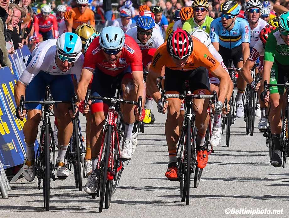 UEC Road European Championships 2017 - Herning - Elite Road Race - Day 5 - 06/08/2017 - Alexander Kristoff (Norway NOR) - Elia Viviani (Italy) - Moreno Hofland (Nederland) - photo Dario Belingheri/BettiniPhoto©2017