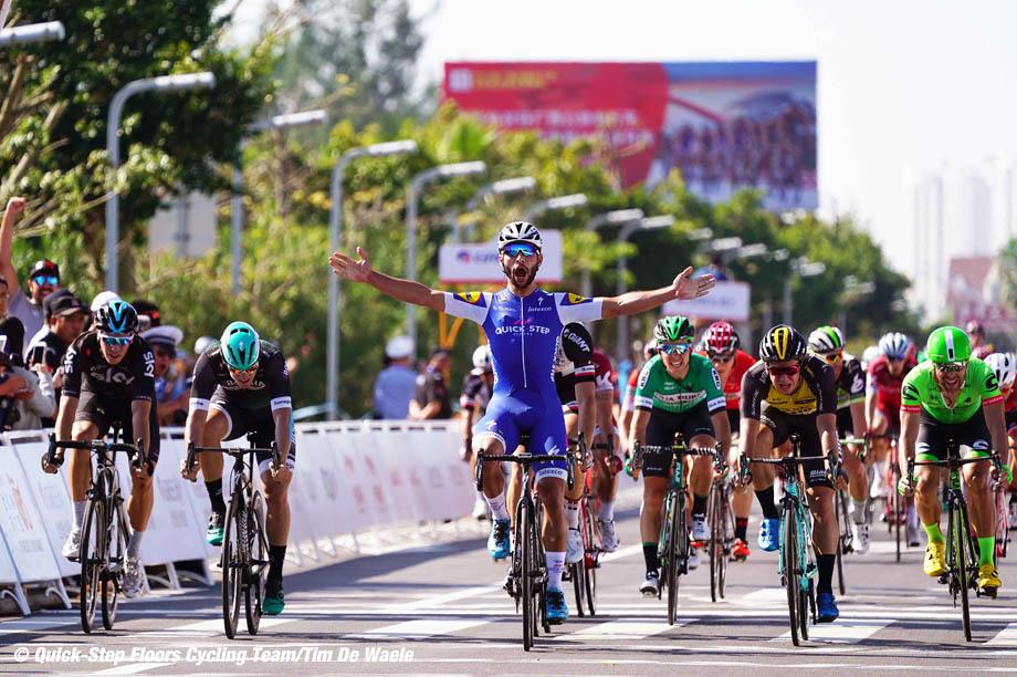 Cycling: 1st Tour of Guangxi 2017 / Stage 1 Arrival / Fernando GAVIRIA (COL) Celebration / Dylan GROENEWEGEN (NED)/ Pascal ACKERMANN (GER)/ Danny VAN POPPEL (NED)/ Wouter WIPPERT (NED)/ Beihai - Beihai (107,4km)/ Gree - Tour of Guangxi / TOG / © Tim De Waele