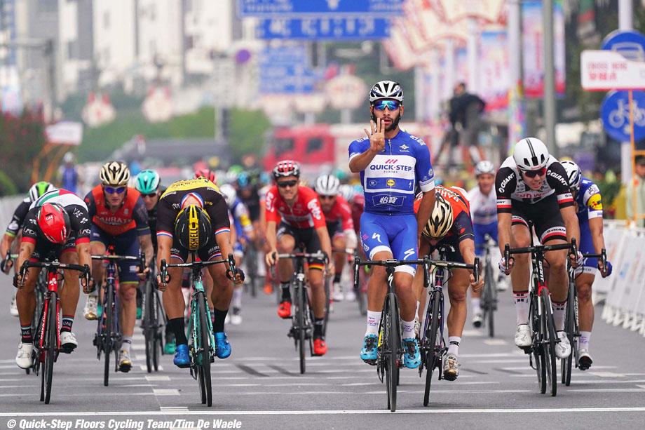 Cycling: 1st Tour of Guangxi 2017 / Stage 6 Arrival /  Fernando GAVIRIA (COL) Blue Sprint Jersey Celebration /  Dylan GROENEWEGEN (NED)/ Niccolo BONIFAZIO (ITA)/ Andrea GUARDINI (ITA)/ Max WALSCHEID (GER)/  Guilin - Guilin (168km)/ Gree - Tour of Guangxi / TOG /  © Tim De Waele