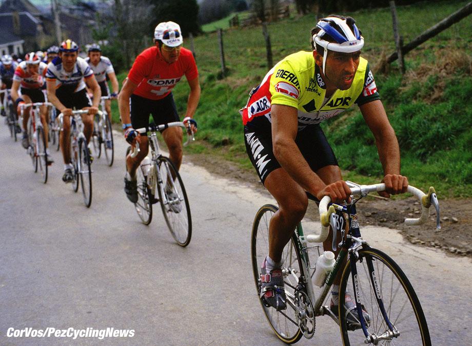 Eddy Planckaert en Yogi Muller. foto Cor Vos©1998 Ronde van Vlaanderen 1988