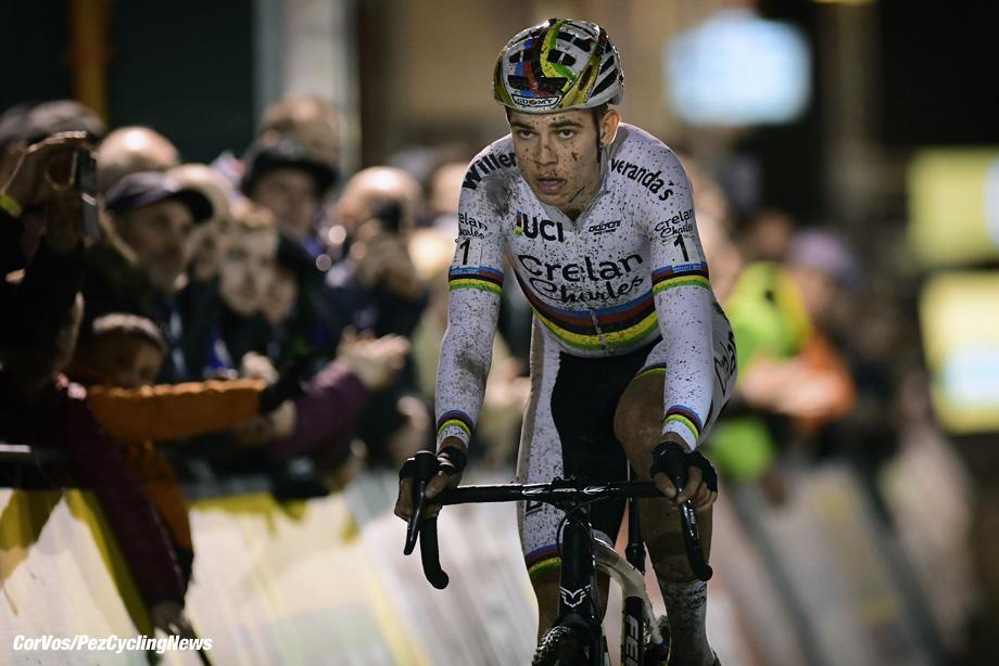 Diegem - Belgium - wielrennen - cycling - radsport - cyclisme - Aert Wout (BEL) of Crelan - Charles team crosses the finish line dejected pictured during  the men's elite Telenet Superprestige cyclocross race of Diegem, Belgium - photo NV/PN/Cor Vos © 2017